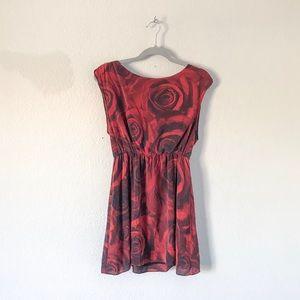 {Alice + Olivia} Silk Rose Patterned Dress